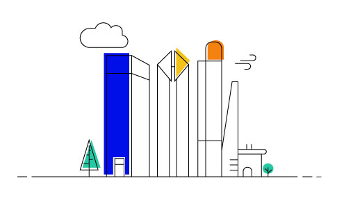 iconic drawing of tall city buildings